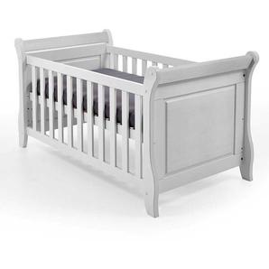 Baby Gitterbett in Weiß Kiefer Massivholz