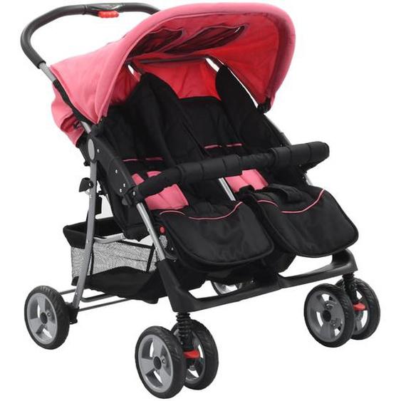 Baby Zwillingswagen Rosa und Schwarz Stahl