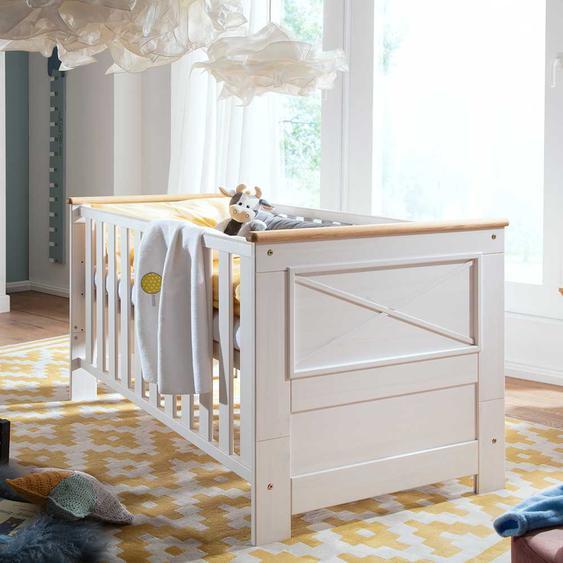 Babybett in Weiß und Eichefarben Kiefer Massivholz