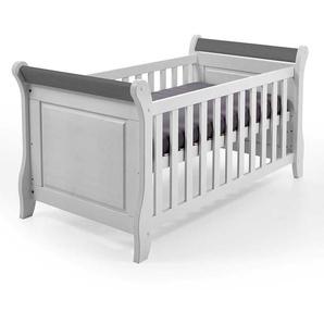 Babybett in Wei� und Grau Kiefer Massivholz