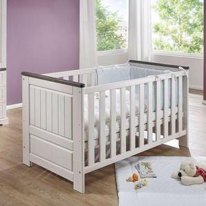 Babybett in Wei� und Grey Wash Kiefer Massivholz