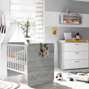 Babymöbel-Set Aarhus, (Spar-Set, 2 St.), Bett + Wickelkommode B/H: 70 cm x 140 grau Baby Baby-Möbel-Sets Babymöbel