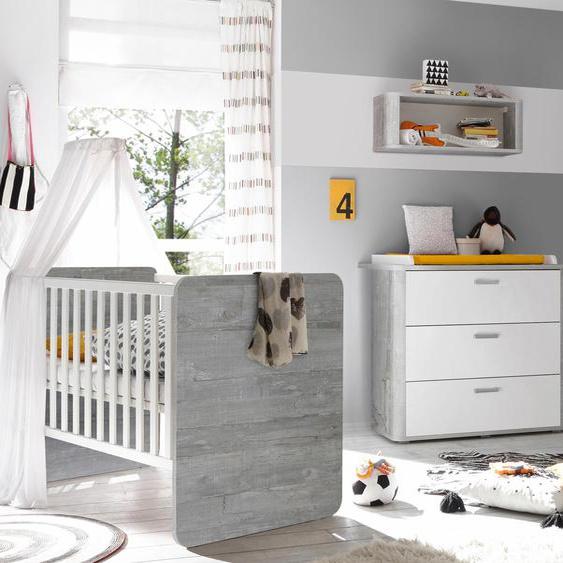 Babymöbel-Set Aarhus, (Spar-Set, 2 tlg.), Bett + Wickelkommode Einheitsgröße grau Baby Baby-Möbel-Sets Babymöbel Schlafzimmermöbel-Sets