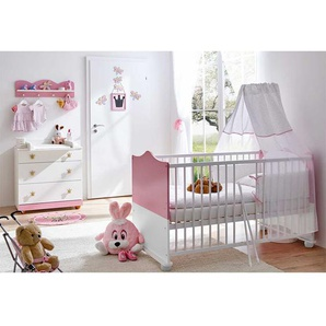 Babymöbelset im Prinzessin Design Weiß und Rosa (dreiteilig)