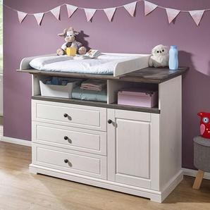 Babywickelkommode in Weiß und Grey Wash Kiefer Massivholz