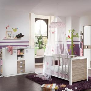 Babyzimmer 6-tlg.in Alpinweiß/Eiche-Sägerau-Dekor, 3-trg. Schrank, Kinderbett 70x140, Wickelkommode B: 122 cm, Unterstellregal B: 32, Regal B: 47 cm