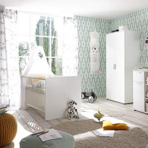 Babyzimmer in weiß, Drehtüremschrank B: ca. 90 cm, Babybett mit Lieghefläche 70x140 cm und Wickelkommode B: ca. 89 cm