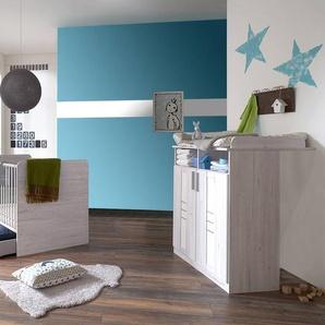 Babyzimmer, in Weißeiche-Nachbildung und weiß, Wickelkommode B: 91 cm und Babybett 70 x 140 cm