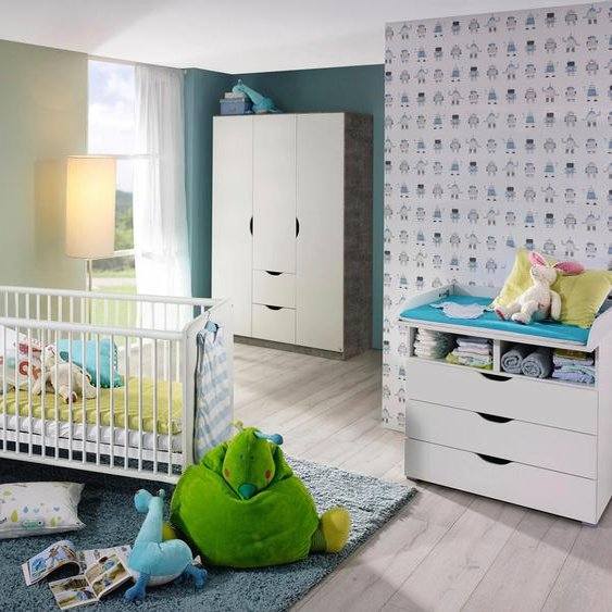 Babyzimmer-Komplettset Bristol, (Spar-Set, 3 tlg.), Bett + Wickelkommode trg. Schrank Einheitsgröße weiß Baby Baby-Möbel-Sets Babymöbel Schlafzimmermöbel-Sets