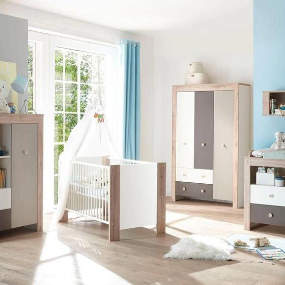 Babyzimmer-Komplettset Madrid, (Set, 3 tlg.), Bett + Wickelkommode trg. Kleiderschrank Einheitsgröße grau Baby Baby-Möbel-Sets Babymöbel Schlafzimmermöbel-Sets