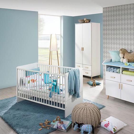 Babyzimmer-Komplettset Potsdam, (Set, 3 tlg.), Bett + Wickelkommode 2 trg. Schrank Einheitsgröße weiß Baby Baby-Möbel-Sets Babymöbel Schlafzimmermöbel-Sets