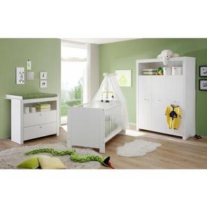 Komplett Babyzimmer »Trend« Babybett + Wickelkommode + Kleiderschrank, (3-tlg.) in weiß