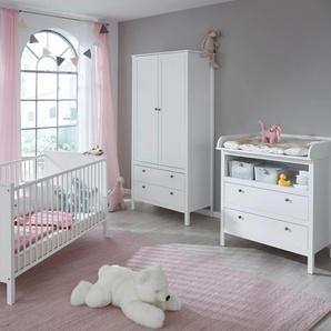 Babyzimmer-Komplettset Westerland, (Set, 3 St.), Bett + Wickelkommode 2 trg. Schrank B/H: 70 cm x 140 weiß Baby Baby-Möbel-Sets Babymöbel