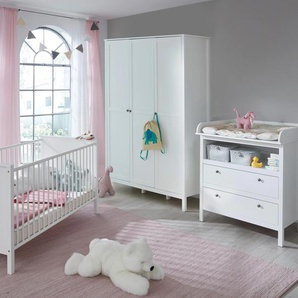 Babyzimmer-Komplettset Westerland, (Set, 3 St.), Bett + Wickelkommode trg. Schrank B/H: 70 cm x 140 weiß Baby Baby-Möbel-Sets Babymöbel
