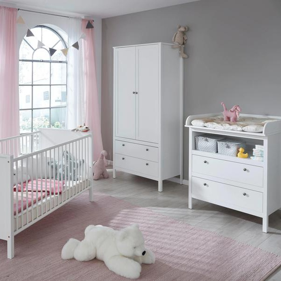 Babyzimmer-Komplettset Westerland, (Set, 3 tlg.), Bett + Wickelkommode 2 trg. Schrank Einheitsgröße weiß Baby Baby-Möbel-Sets Babymöbel Schlafzimmermöbel-Sets