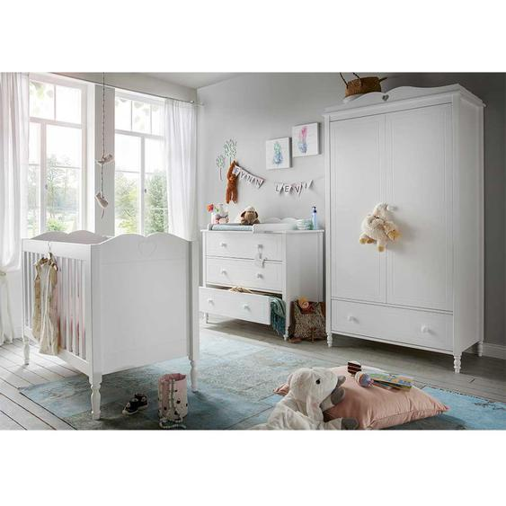 Babyzimmer Set in Weiß Herz Motiven verziert (3-teilig)