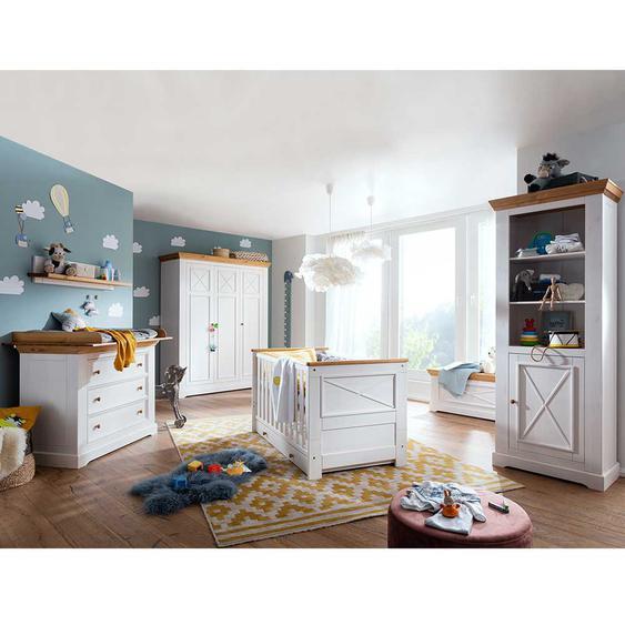 Babyzimmer Set in Weiß und Eichefarben Kiefer Massivholz (6-teilig)
