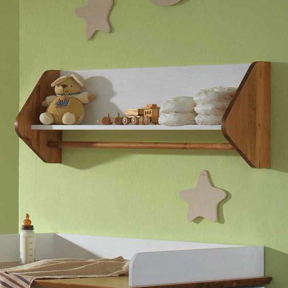 Babyzimmer Wandboard in Weiß Kiefer massiv
