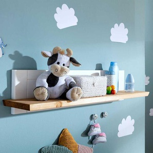 Babyzimmer Wandboard in Weiß und Eichefarben Kiefer Massivholz