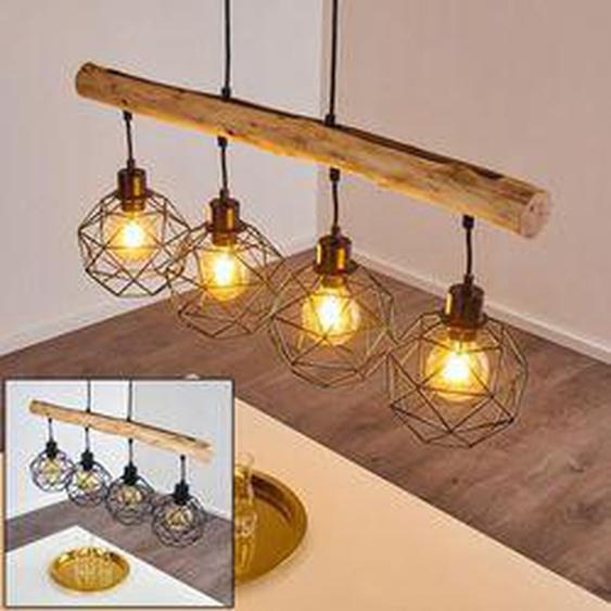 Bacabal Pendelleuchte Schwarz, Holz hell, 4-flammig - Vintage - Innenbereich - versandfertig innerhalb von 2-4 Werktagen