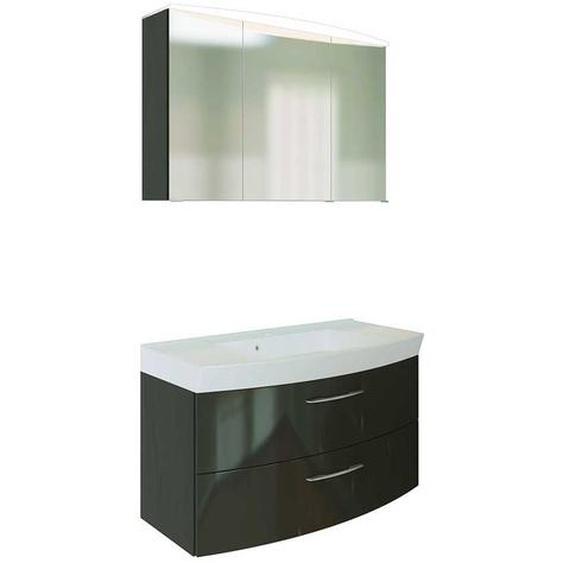 Bad Kombination in Dunkelgrau Hochglanz 3D Spiegelschrank (2-teilig)