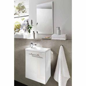 Bad Kombination in Hochglanz Weiß für kleines Bad (2-teilig)