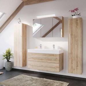 Bad-Möbel Kombi Eiche hell mit 100cm Doppel-Waschtisch LISSABON-02 - B/H/T: 200/200/48cm