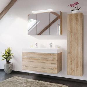 Bad-Möbel Kombination mit 100cm Doppel-Waschtisch LISSABON-02 - in Eiche hell - B/H/T: 150/200/48cm