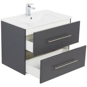 Bad-Set Waschplatz HELLA-02 in anthrazit seidenglanz mit Unterschrank und Keramik Waschbecken B/H/T ca. 75/54/46cm
