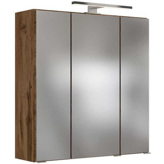 Bad Spiegelschrank im Wildeiche Dekor LED Beleuchtung