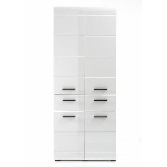 Bad Stauraum Schrank Badezimmer Hochschrank Groß Weiß Hochglanz 60x182