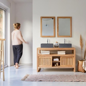 Waschtisch Badmöbel Badschrank Waschbeckenschrank Teak Kolonial Stil Natur neu