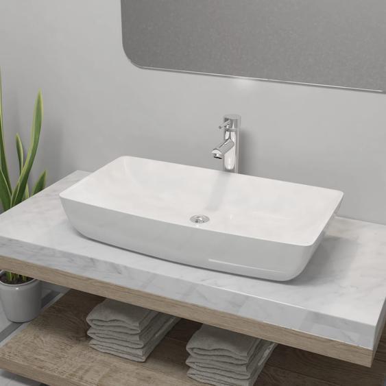 Bad-Waschbecken mit Mischbatterie Keramik Rechteckig Weiß