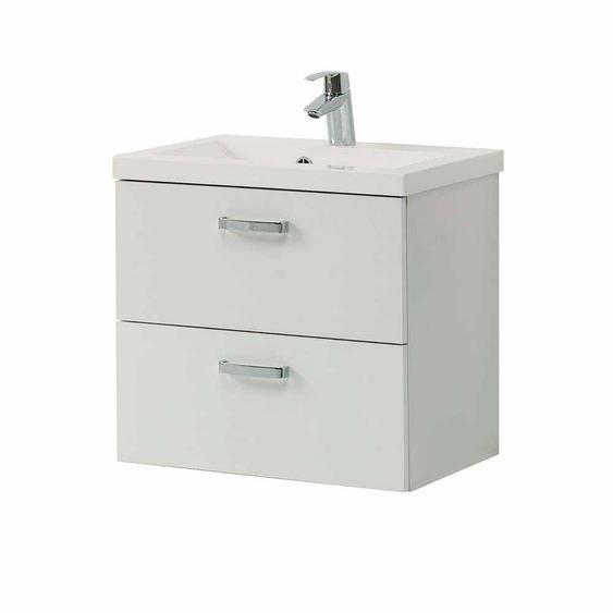 Bad Waschtisch in Weiß 2 Schubladen
