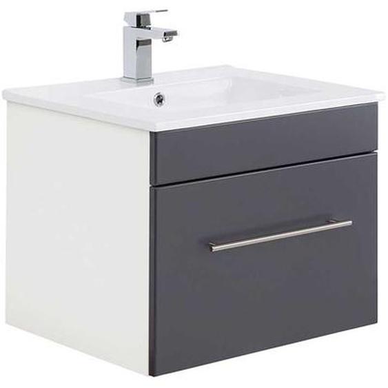 Bad Waschtisch in Weiß und Anthrazit 50 cm hoch