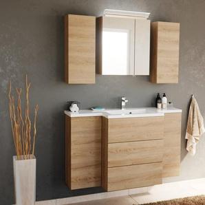 Badezimmerspiegel MARINELLO Spiegelschrank 3D-Badspiegel Lampe 70cm eiche-dunkel