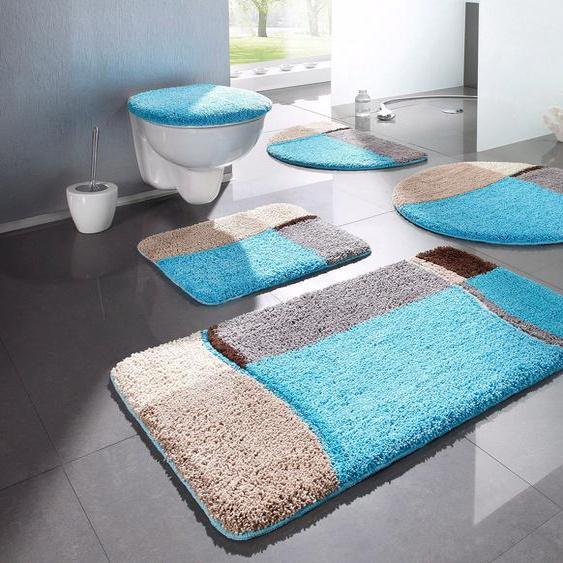 Badematte Belio, my home, Höhe 20 mm, fußbodenheizungsgeeignet 7, rund Ø 80 cm, mm blau Gemusterte Badematten