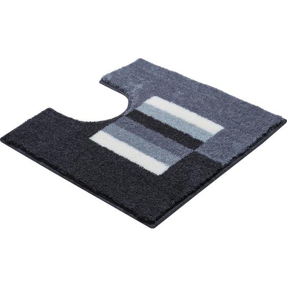 Badematte Capricio, Grund, Höhe 20 mm, rutschhemmend beschichtet 51, rechteckig mit Ausschnitt 55x60 cm, mm grau Gemusterte Badematten