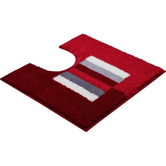 Badematte Capricio, Grund, Höhe 20 mm, rutschhemmend beschichtet 51, rechteckig mit Ausschnitt 55x60 cm, mm rot Gemusterte Badematten