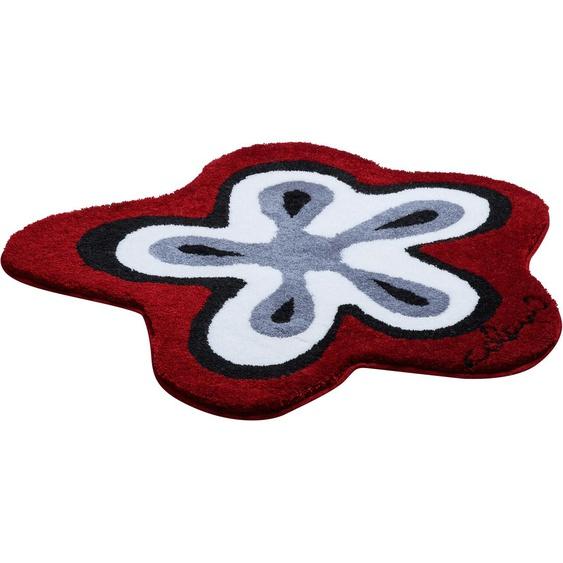 Badematte Colani 1, Colani, Höhe 24 mm, rutschhemmend beschichtet, fußbodenheizungsgeeignet 51, wellenförmig 80x80 cm, mm rot Gemusterte Badematten