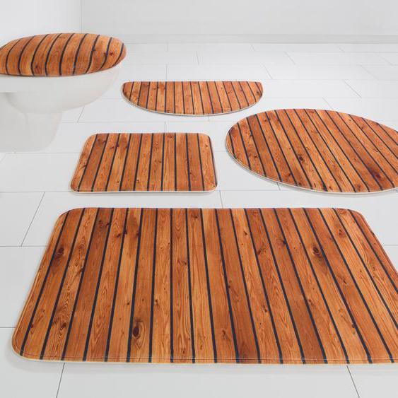 Badematte Holzoptik, my home, Höhe 14 mm, rutschhemmend beschichtet 10, 2-tlg. Hänge-WC Set, mm braun Bedruckte Badematten