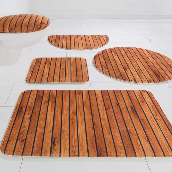 Badematte »Holzoptik« my home, Höhe 14 mm, rutschhemmend beschichtet