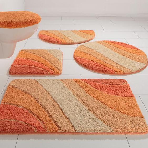 Badematte Josie, my home, Höhe 20 mm 8, halbrund 50x80 cm, orange Gemusterte Badematten