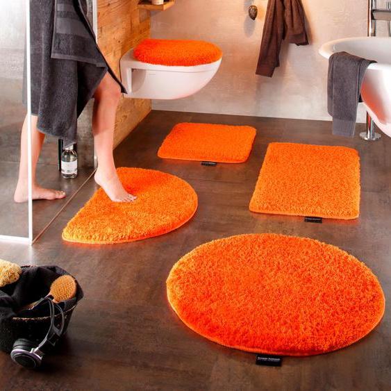 Badematte Lana, Bruno Banani, Höhe 25 mm, rutschhemmend beschichtet, fußbodenheizungsgeeignet 2, rechteckig 50x90 cm, mm orange Einfarbige Badematten