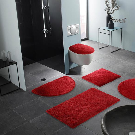 Badematte Lana, Bruno Banani, Höhe 25 mm, rutschhemmend beschichtet, fußbodenheizungsgeeignet 3, rechteckig 60x100 cm, mm lila Einfarbige Badematten