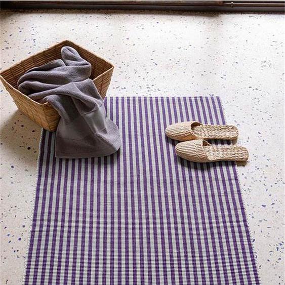 Badematte lila-grau - bunt - 100 % Baumwolle - Teppiche