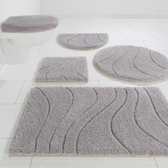 Badematte Lola, Home affaire, Höhe 22 mm, rutschhemmend beschichtet, fußbodenheizungsgeeignet 6, rechteckig 90x160 cm, mm grau Einfarbige Badematten