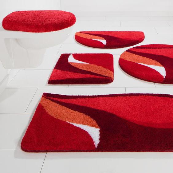 Badematte Magnus, my home, Höhe 20 mm, strapazierfähig 7, rund Ø 80 cm, mm rot Gemusterte Badematten