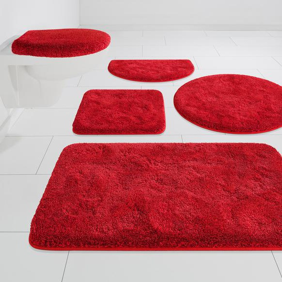 Badematte Melos, GRUND exklusiv, Höhe 27 mm, rutschhemmend beschichtet 5, rechteckig 80x150 cm, mm rot Einfarbige Badematten