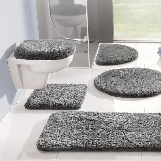 Badematte Merida, my home, Höhe 32 mm, fußbodenheizungsgeeignet 4, rechteckig 70x110 cm, mm grau Einfarbige Badematten